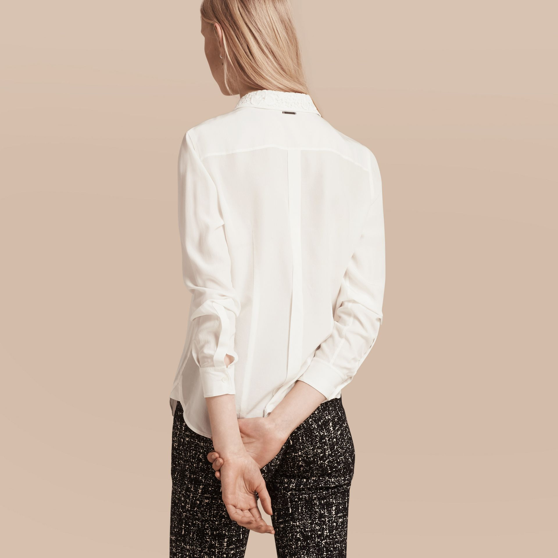 White Lace Collar Silk Shirt White - gallery image 3