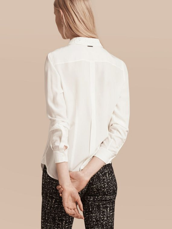 White Lace Collar Silk Shirt White - cell image 2