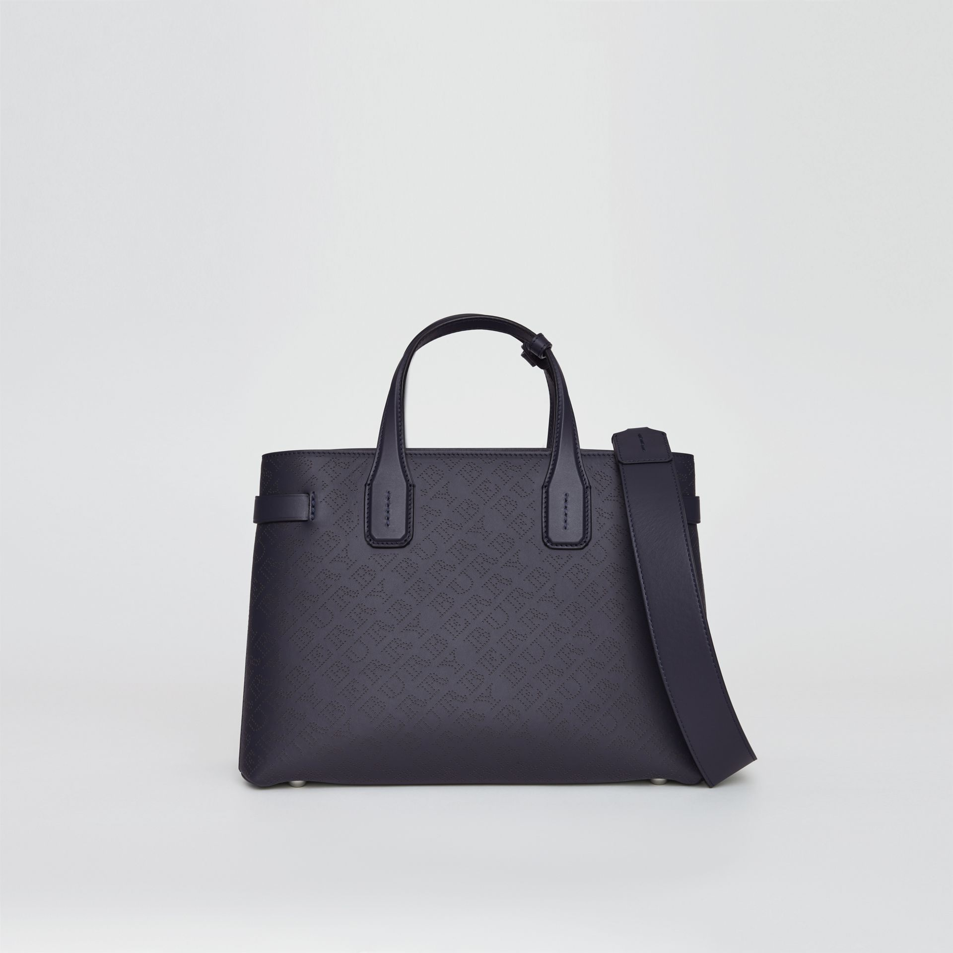 The Medium Banner in Perforated Logo Leather in Regency Blue - Women | Burberry United Kingdom - gallery image 0