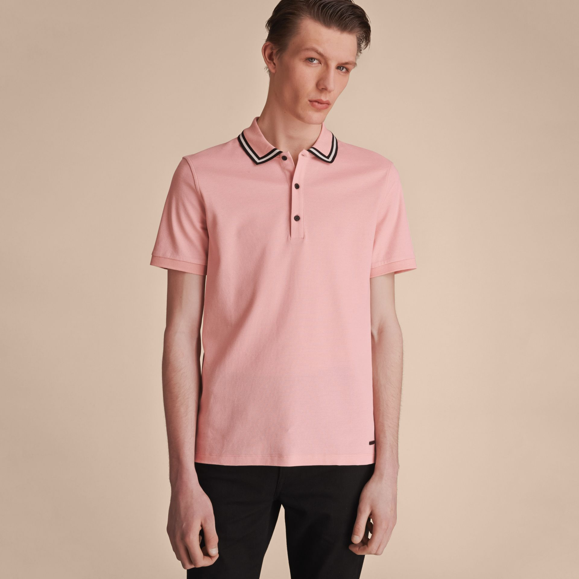 Striped Collar Cotton Piqué Polo Shirt in Chalk Pink - Men | Burberry - gallery image 6