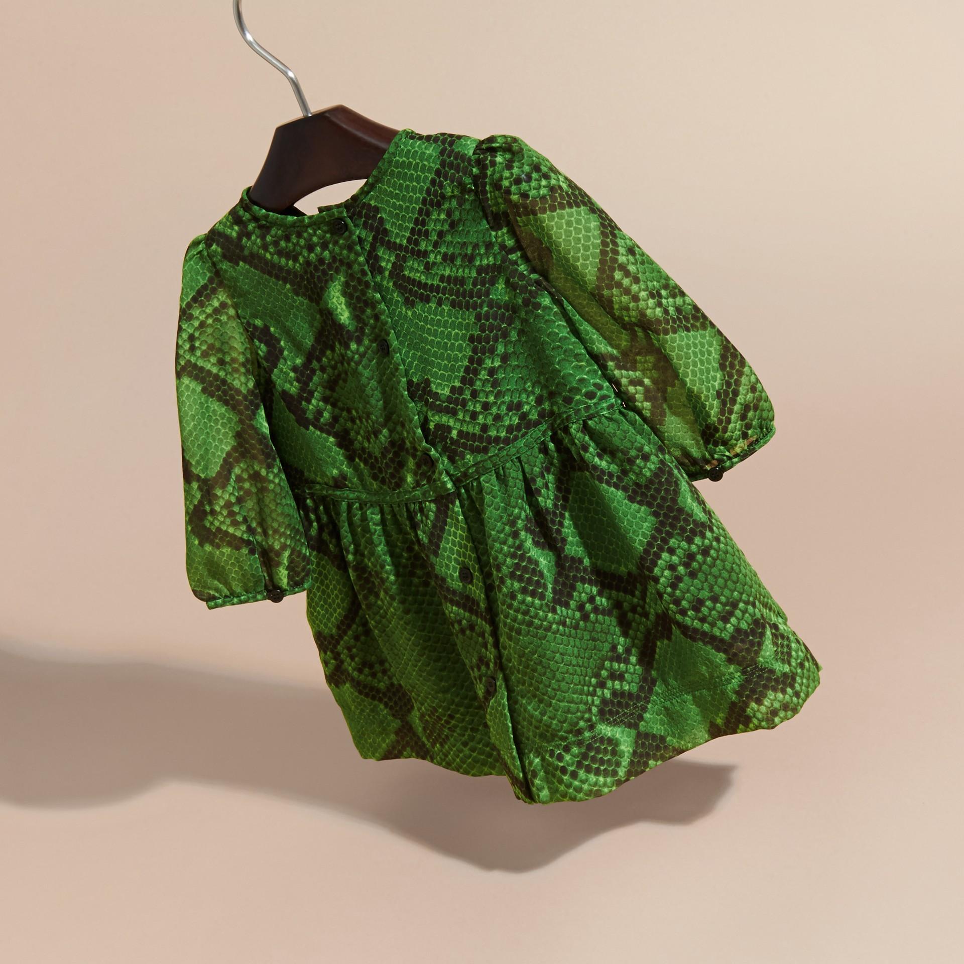 Bright green Python Print Ruffle-bib Silk Dress - gallery image 4