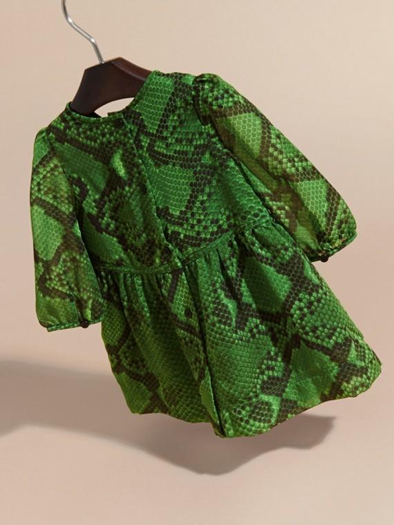 Bright green Python Print Ruffle-bib Silk Dress - cell image 3