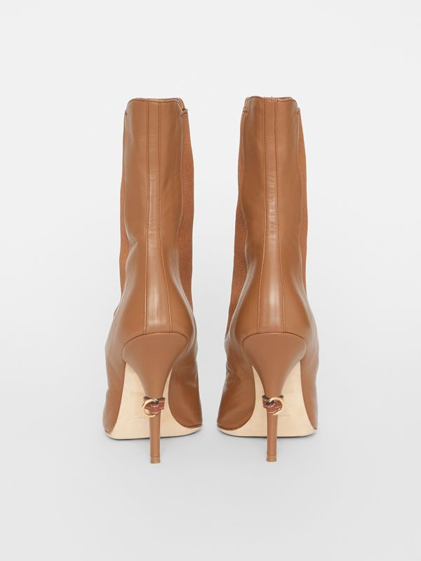 Leather Peep-toe Ankle Boots in Amber Brown - Women | Burberry - cell image 3