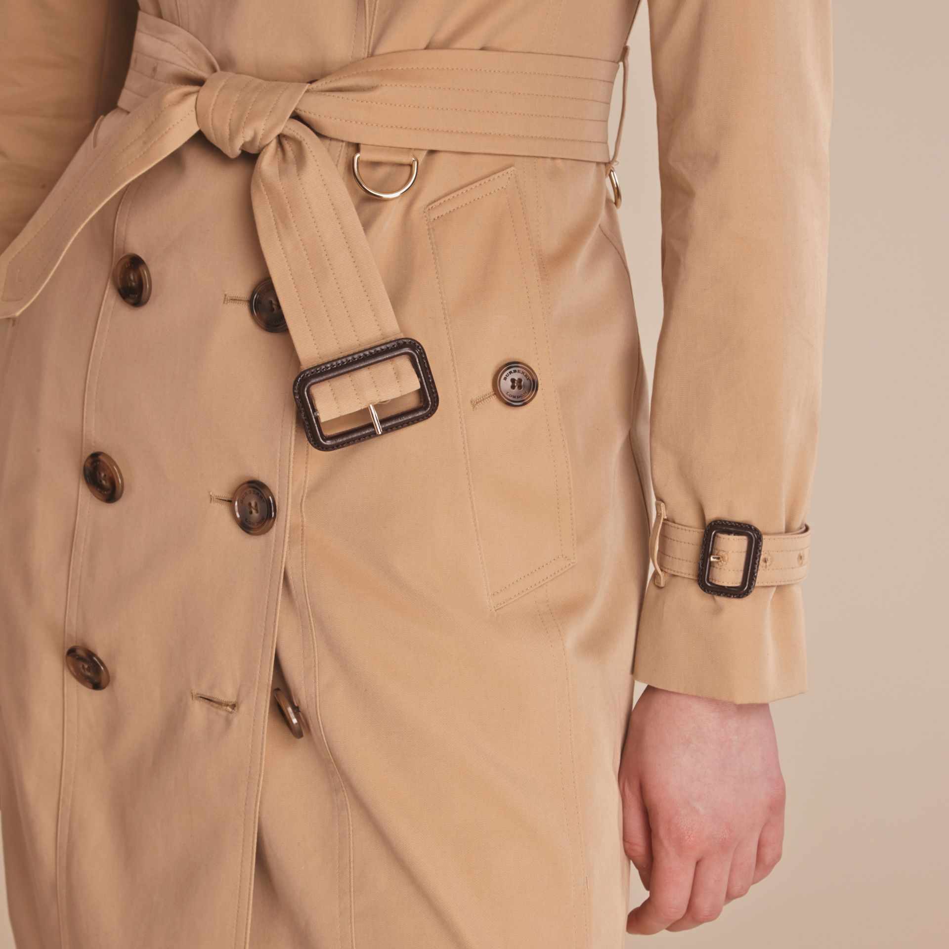 Leather Trim Cotton Gabardine Trench Coat Honey - gallery image 6