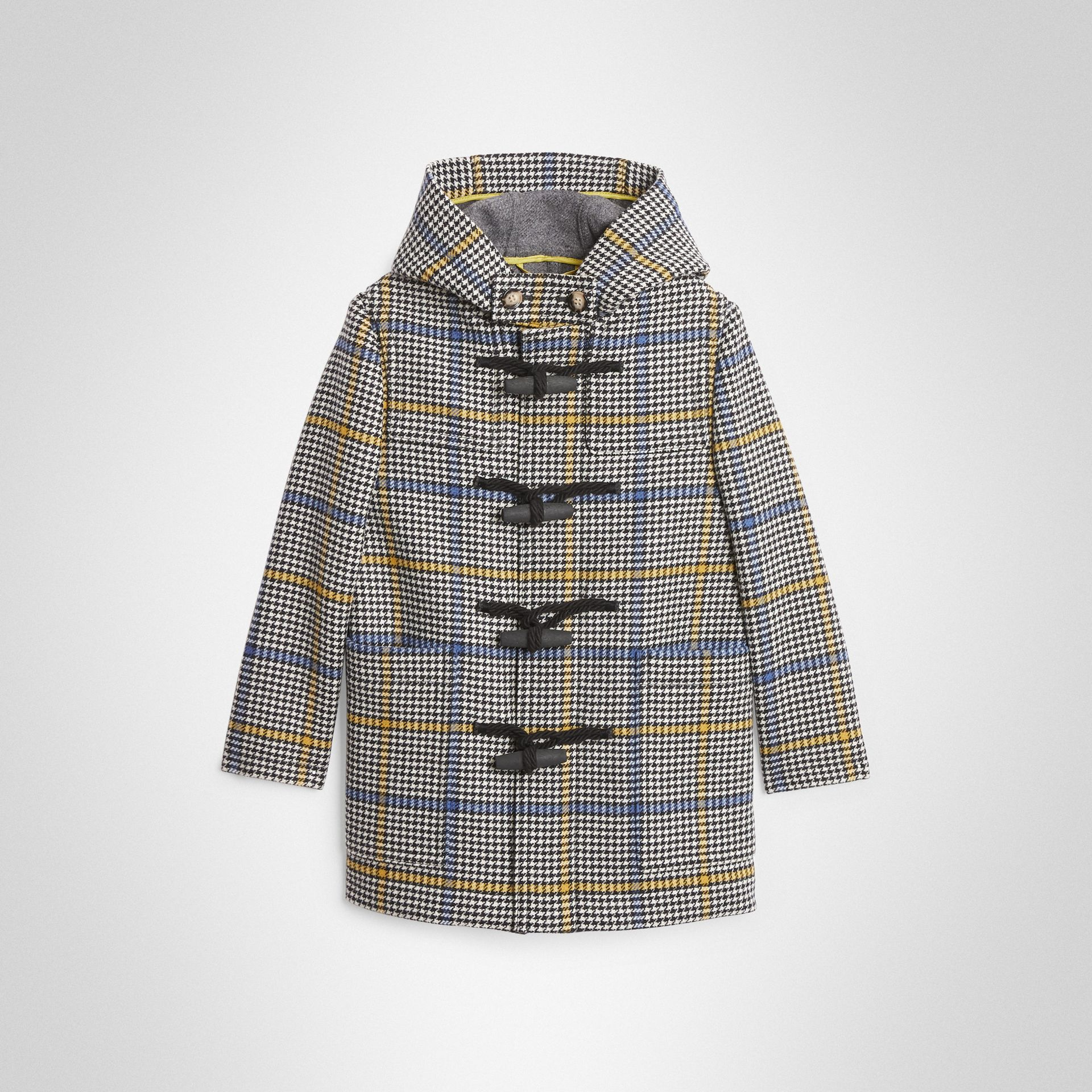 Houndstooth Check Wool Cashmere Duffle Coat in Parchment | Burberry Canada - gallery image 0
