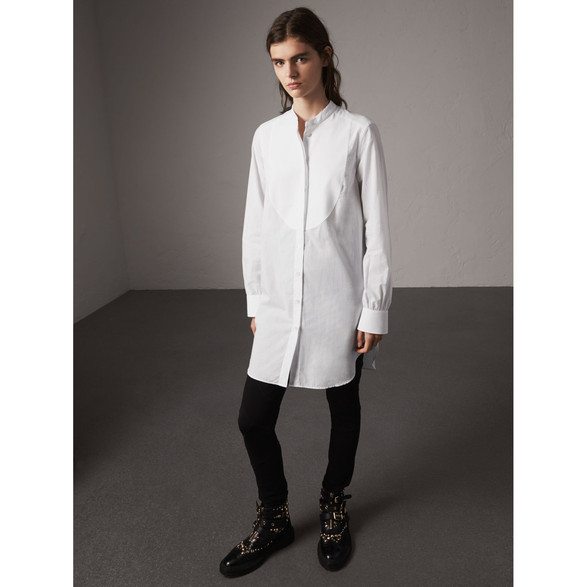 Bib Detail Cotton Longline Tunic Shirt in White - Women | Burberry - gallery image 1