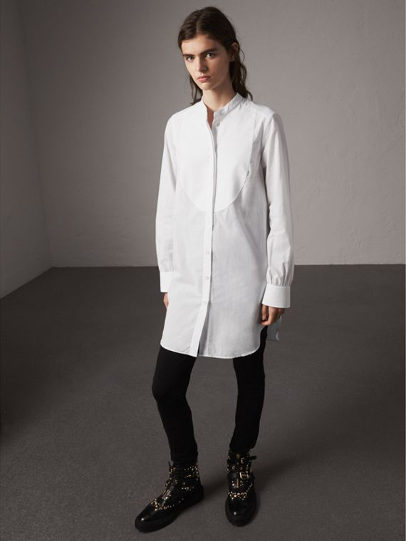 Bib Detail Cotton Longline Tunic Shirt in White