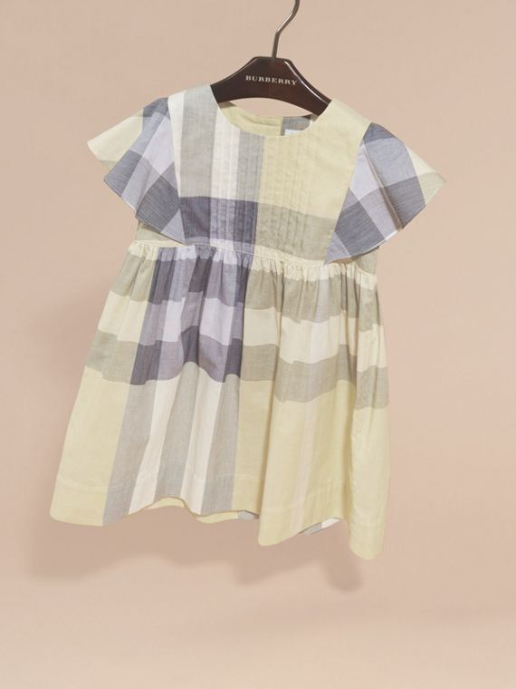 Ruffle Detail Check Cotton Dress in Pale Yellow - Girl | Burberry Singapore - cell image 2