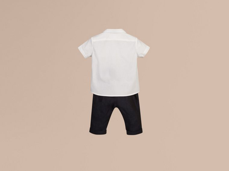 White Short-sleeved Stretch-cotton Oxford Shirt - cell image 2