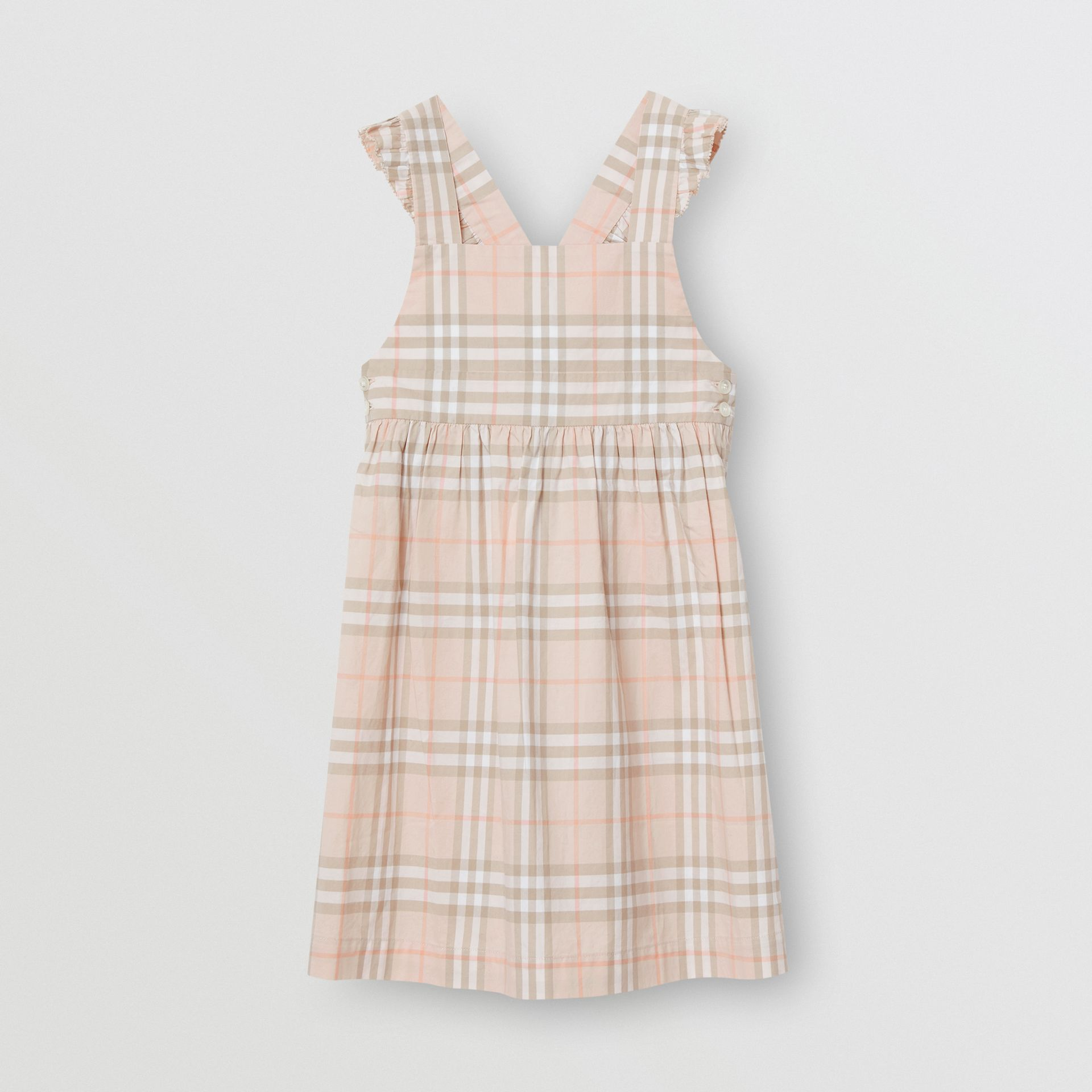 Ruffle Detail Check Cotton Dress in Pale Pink Apricot | Burberry Australia - gallery image 0