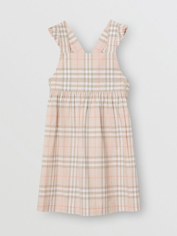 Ruffle Detail Check Cotton Dress in Pale Pink Apricot