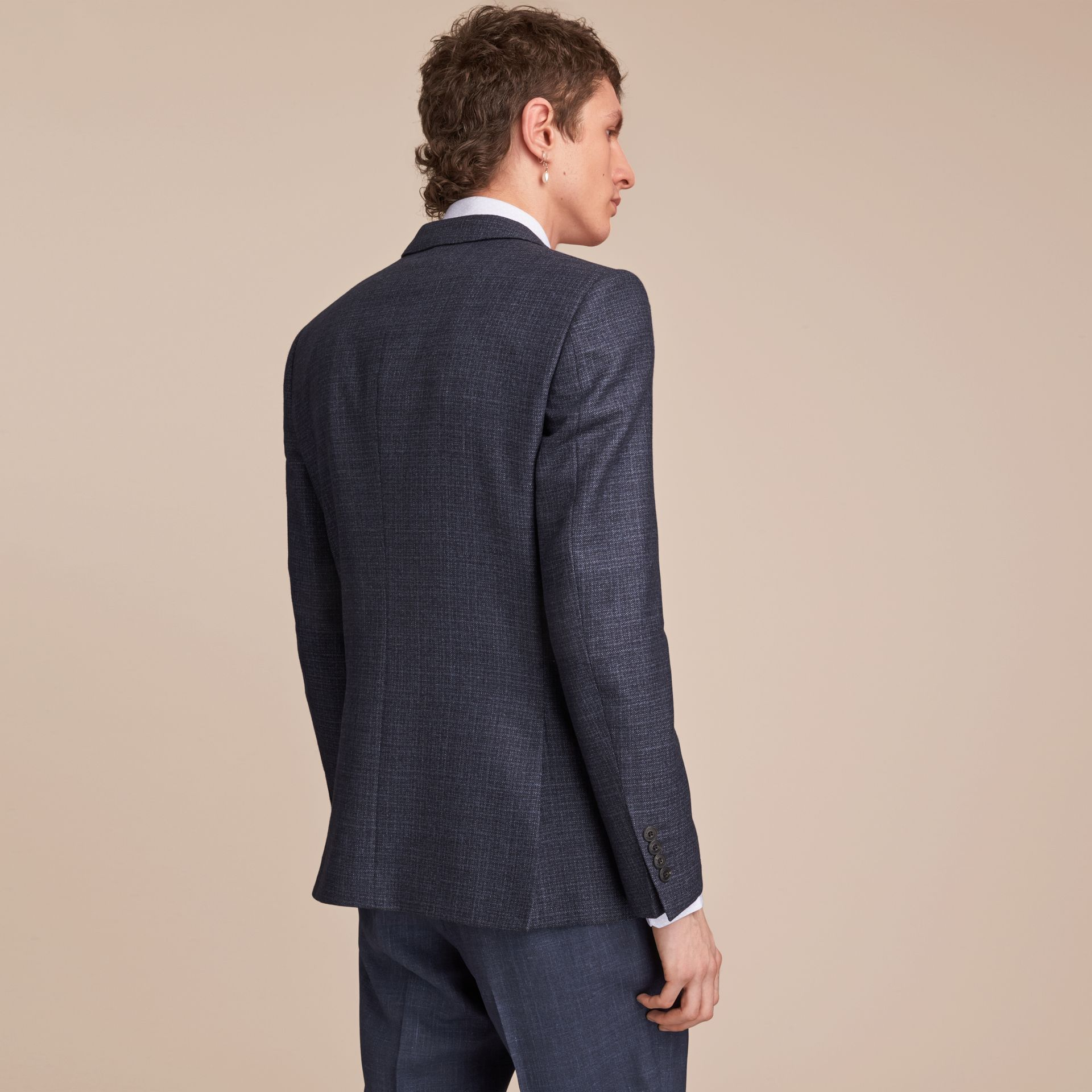Slim Fit Lightweight Wool Part-canvas Suit in Bright Navy - Men | Burberry - gallery image 3