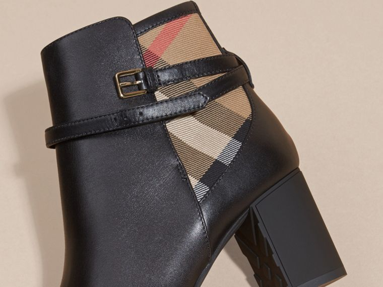 House Check and Leather Ankle Boots - cell image 1