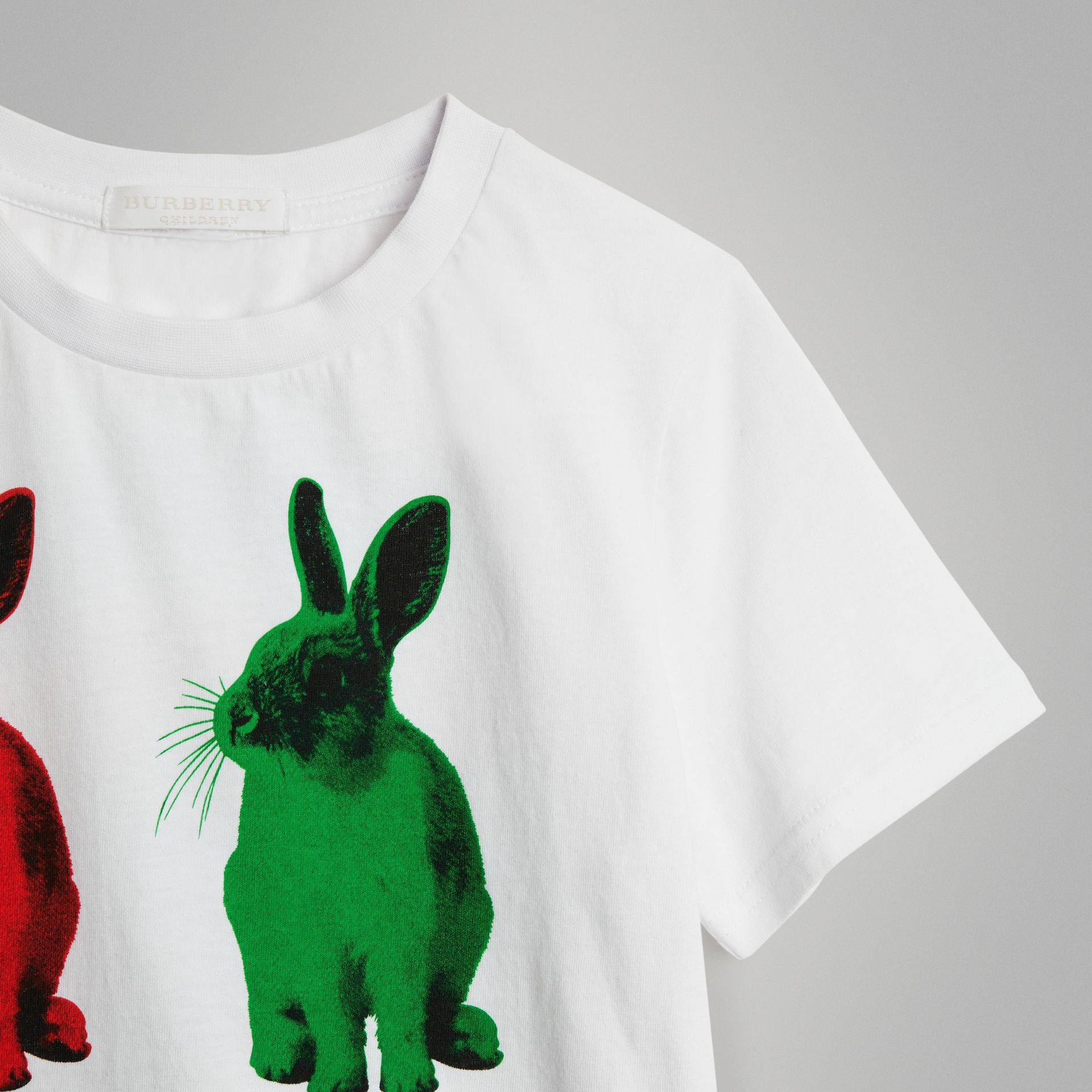 Rabbit Print Cotton T-shirt in White | Burberry United Kingdom - gallery image 4