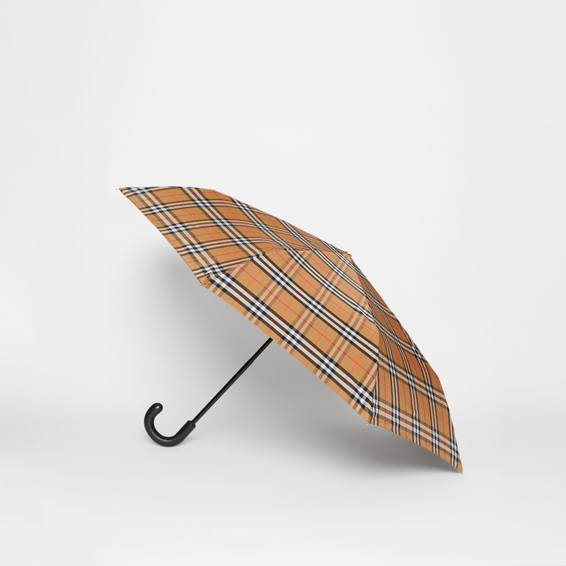 Vintage Check Folding Umbrella in Antique Yellow | Burberry United States - gallery image 3