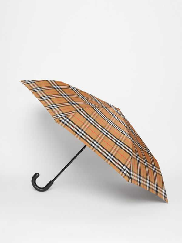 Vintage Check Folding Umbrella in Antique Yellow | Burberry United States - cell image 3