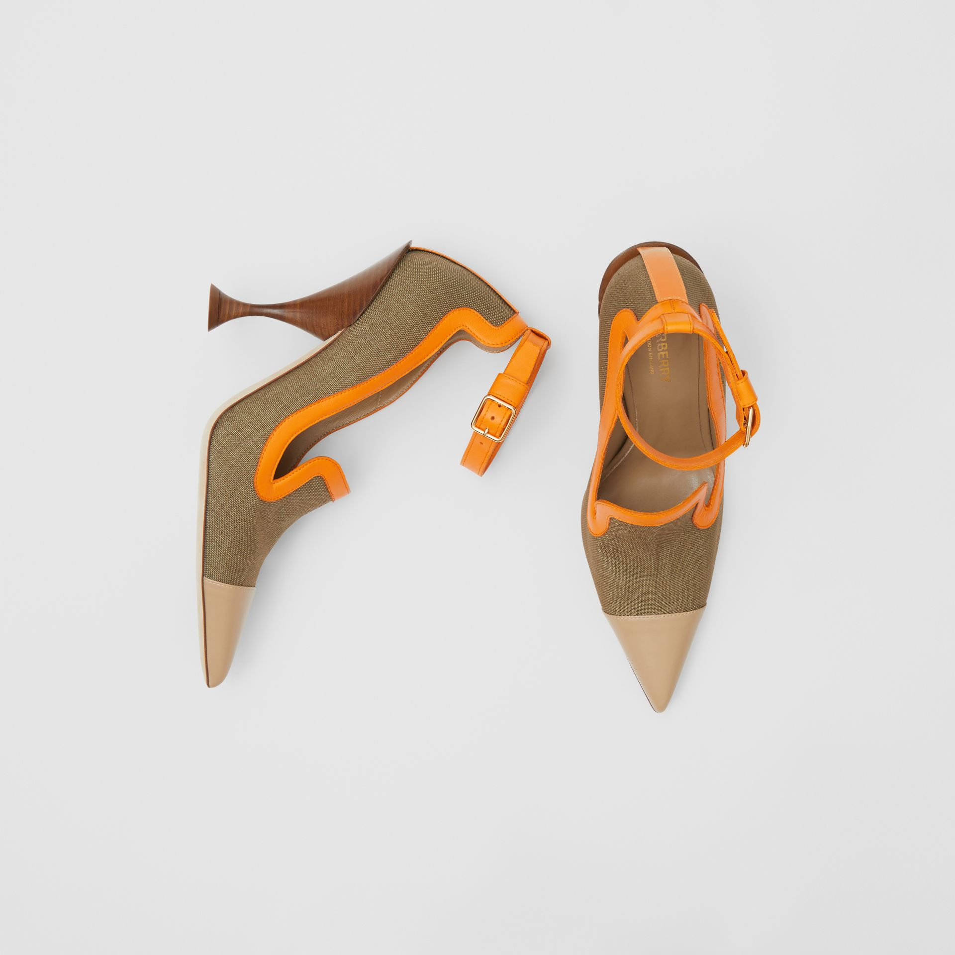 Canvas and Leather Point-toe Pumps in Camel - Women | Burberry Hong Kong S.A.R - gallery image 0