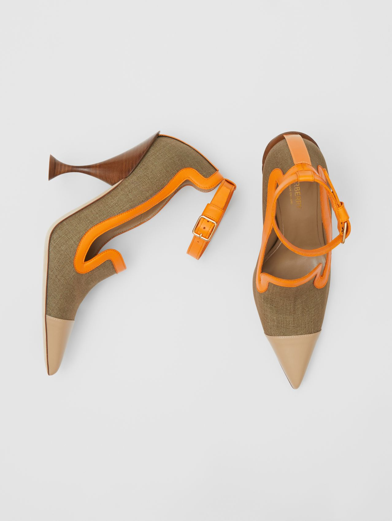 Canvas and Leather Point-toe Pumps in Camel
