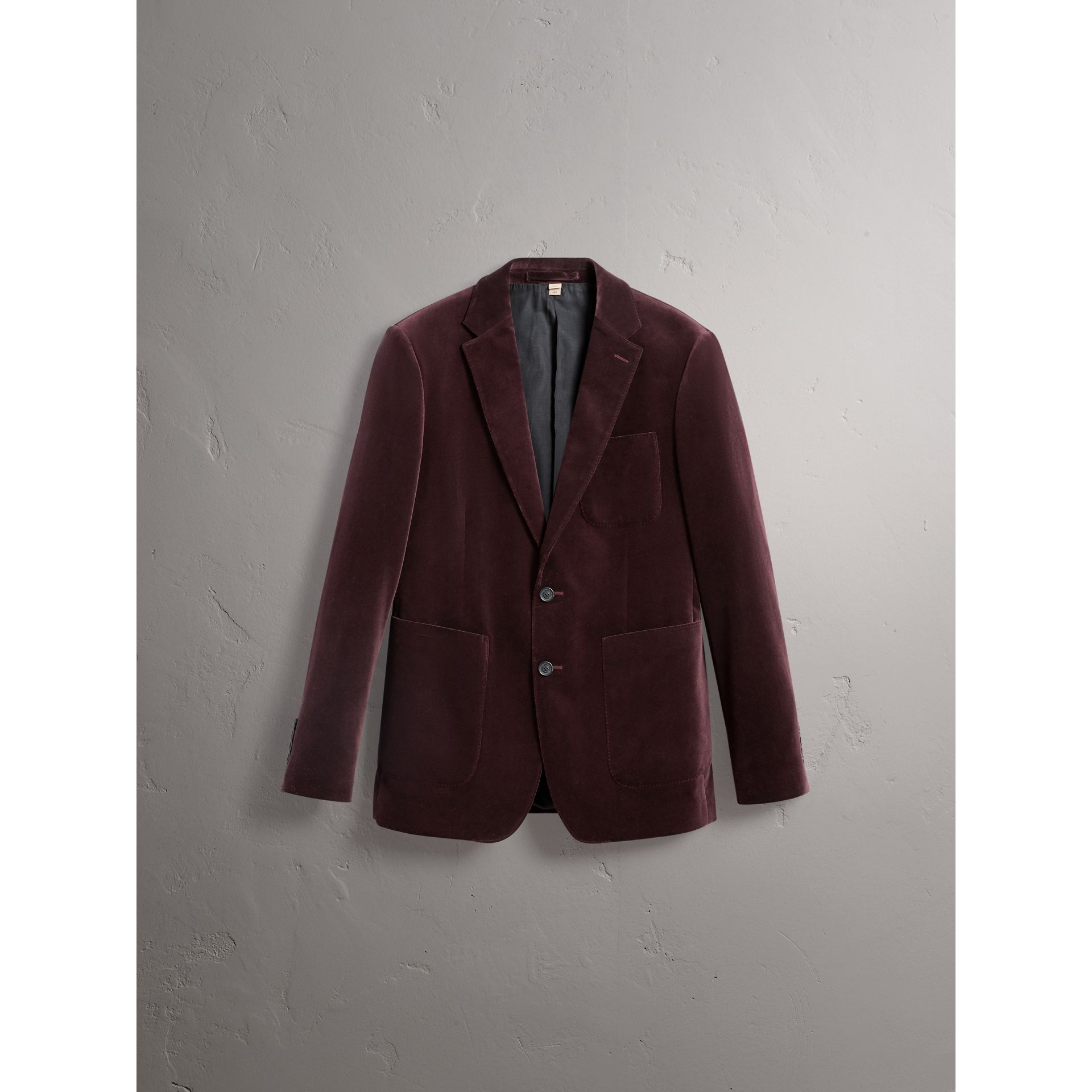 Soho Fit Velvet Tailored Jacket in Blackcurrant - Men | Burberry - gallery image 3