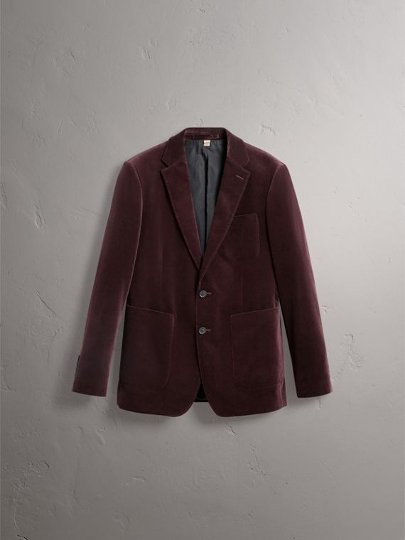 Soho Fit Velvet Tailored Jacket in Blackcurrant - Men | Burberry - cell image 3