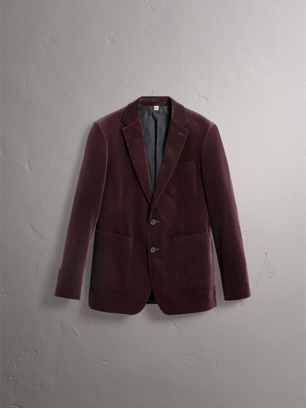 Soho Fit Velvet Tailored Jacket in Blackcurrant - Men | Burberry United Kingdom - cell image 3
