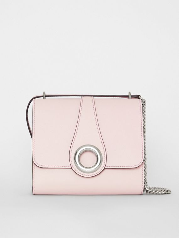 The Leather Grommet Detail Crossbody Bag in Chalk Pink