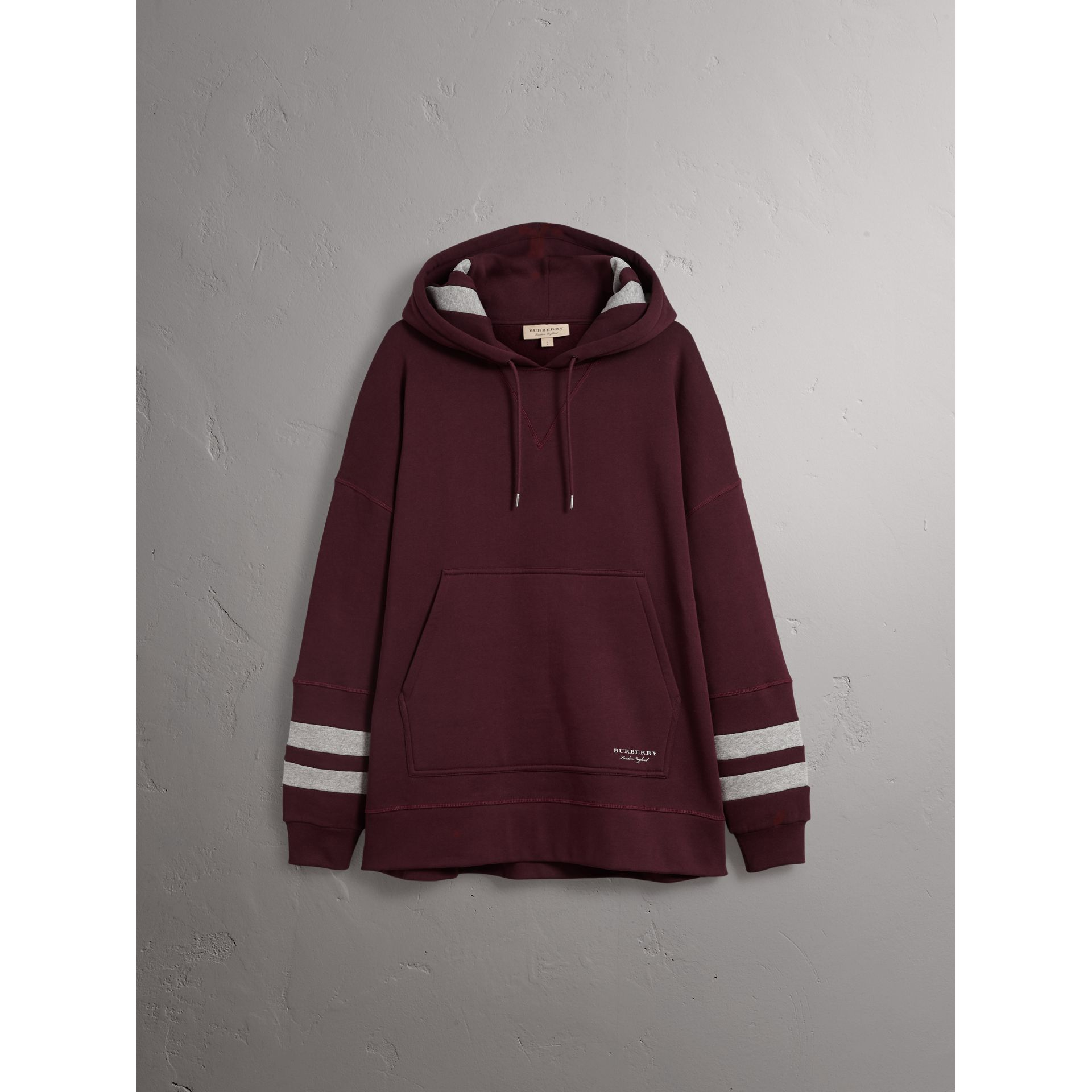 Bold Stripe Detail Oversize Hooded Sweatshirt in Deep Claret - Men | Burberry United Kingdom - gallery image 4