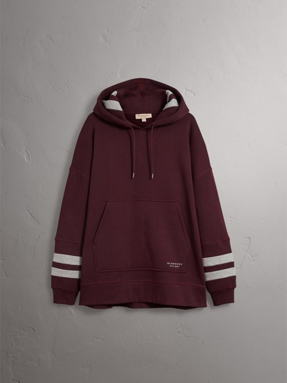 Bold Stripe Detail Oversize Hooded Sweatshirt in Deep Claret - Men | Burberry - cell image 3