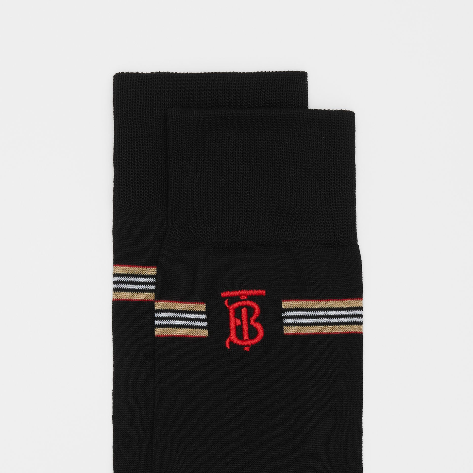 Icon Stripe and Monogram Motif Cotton Blend Socks in Black | Burberry United Kingdom - gallery image 1