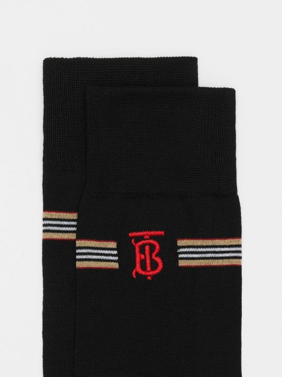 Icon Stripe and Monogram Motif Cotton Blend Socks in Black | Burberry United Kingdom - cell image 1