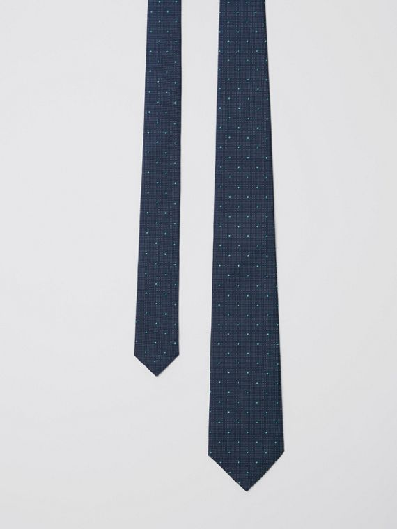 Modern Cut Polka Dot Silk Tie in Mineral Blue