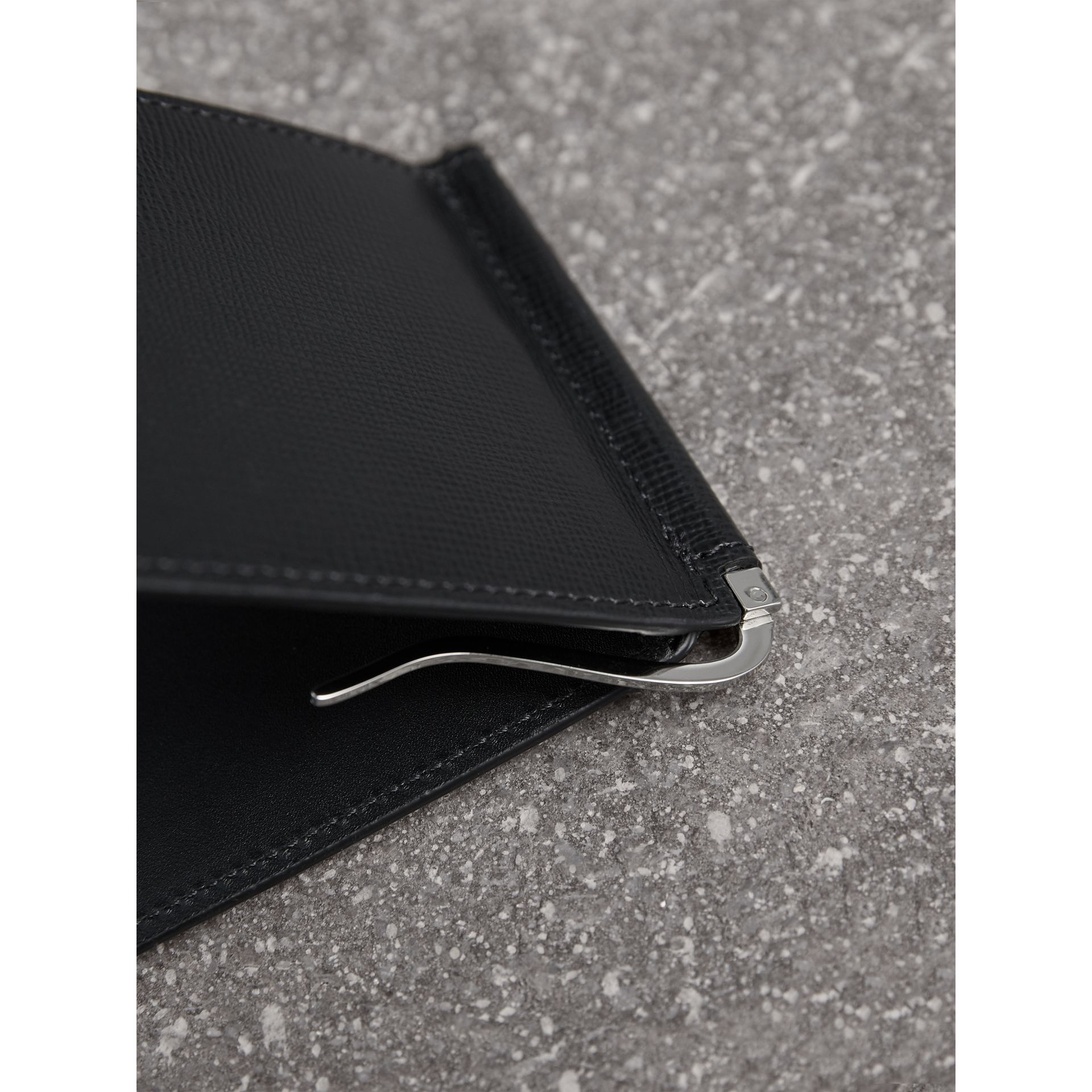 London Leather Money Clip Card Wallet in Black - Men | Burberry United States - gallery image 1
