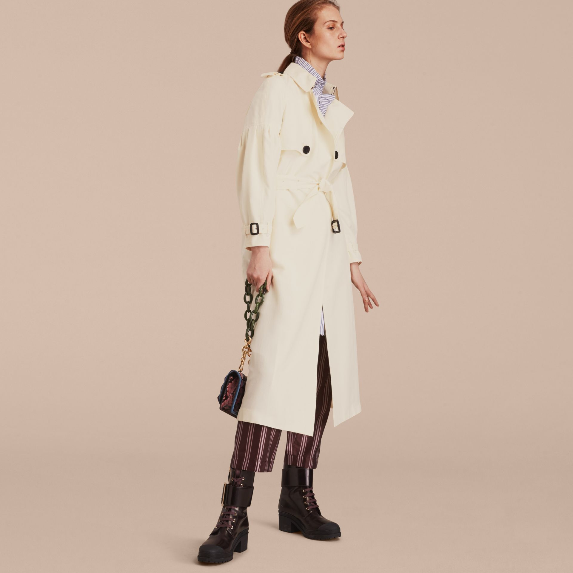 Oversize Silk Trench Coat with Puff Sleeves in Parchment - gallery image 7