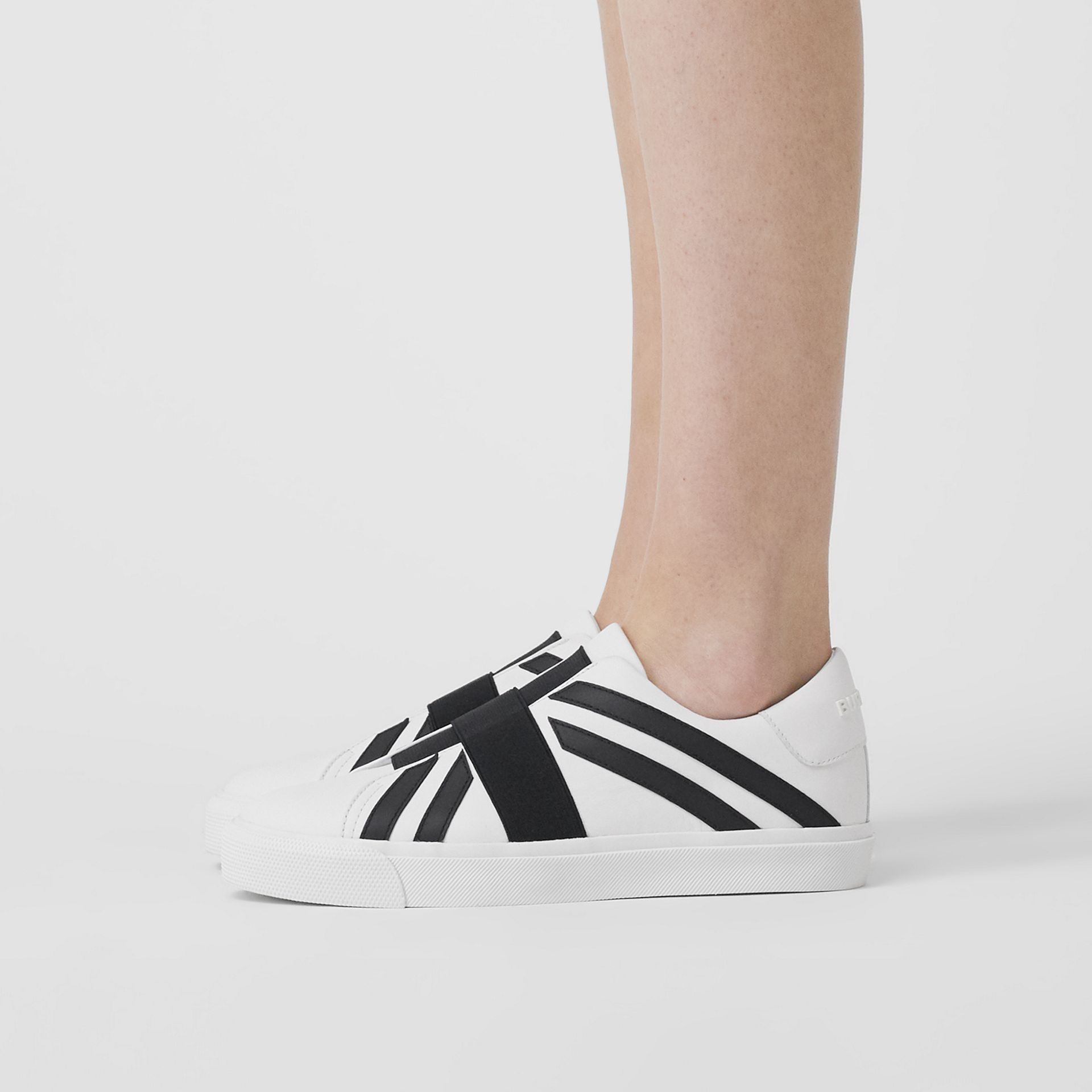 Union Jack Motif Slip-on Sneakers in Optic White/black - Women | Burberry Singapore - gallery image 2