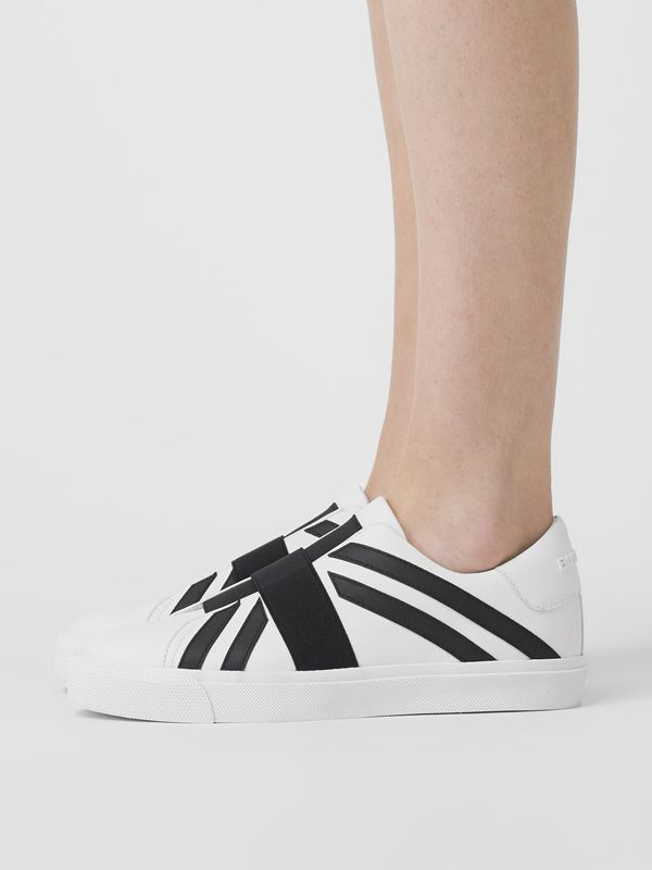 Union Jack Motif Slip-on Sneakers in Optic White/black - Women | Burberry Singapore - cell image 2