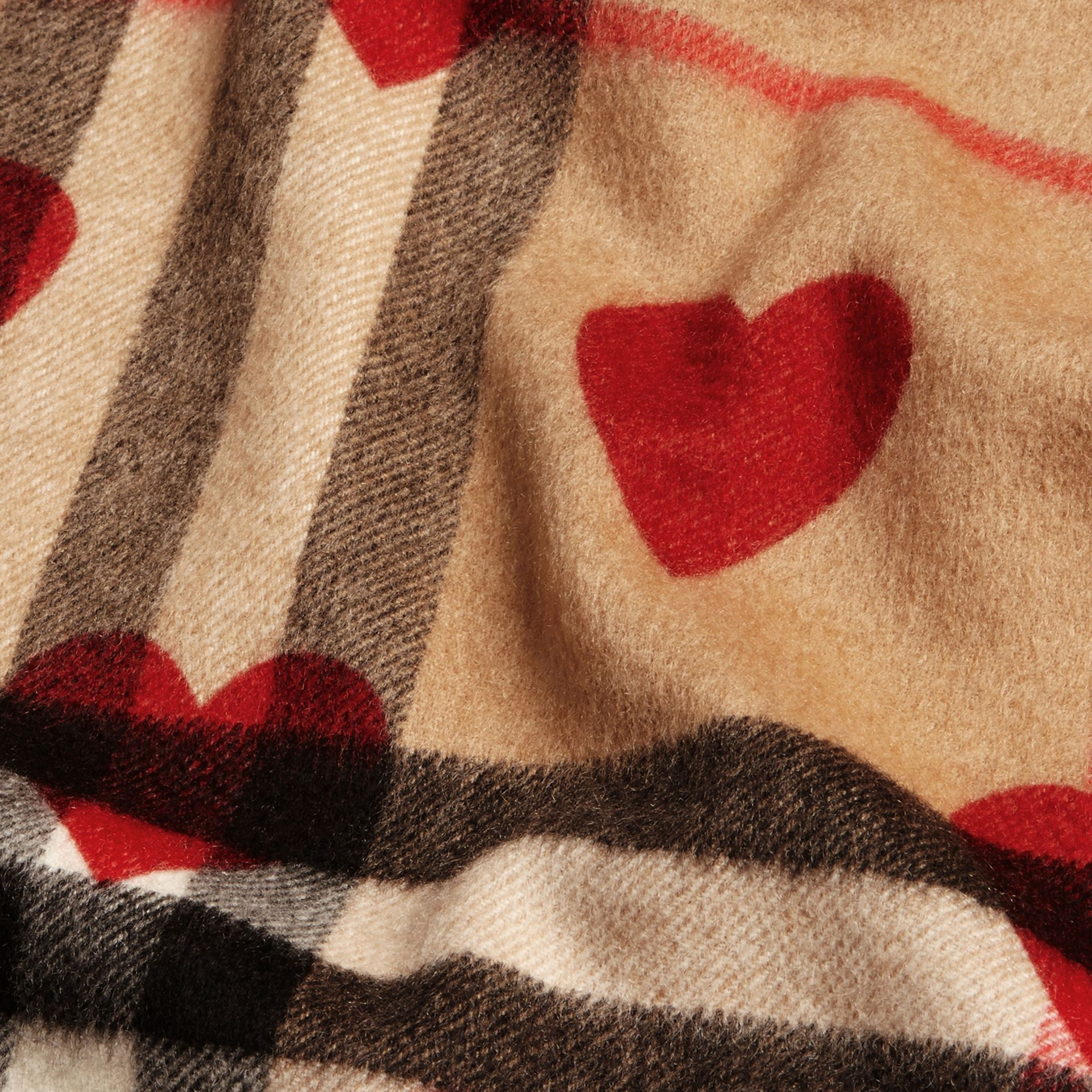 Parade red The Classic Cashmere Scarf in Check and Hearts Parade Red - gallery image 5