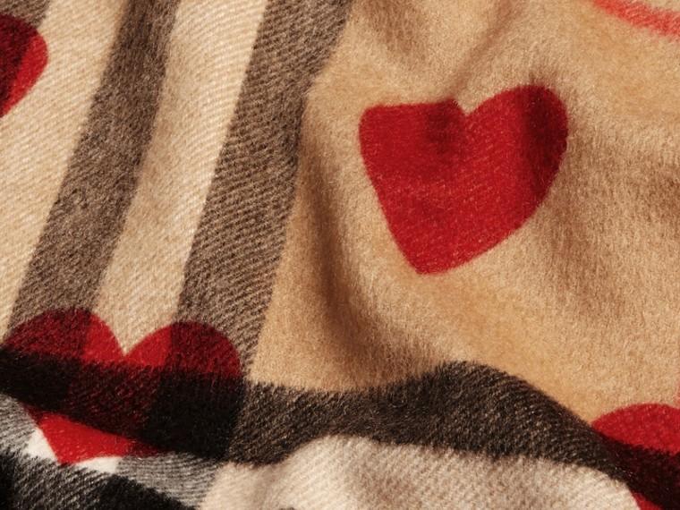 Rosso parata Sciarpa in cashmere classica con motivo check e stampa a cuori Rosso Parata - cell image 4