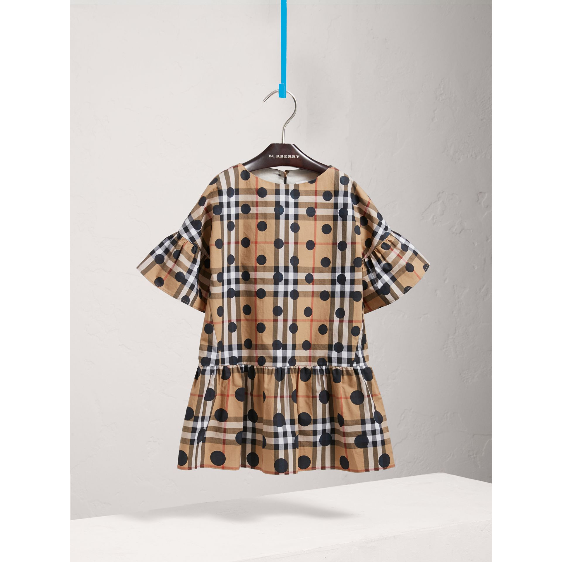Gathered Polka-dot Check Cotton Dress in Navy - Girl | Burberry Australia - gallery image 0