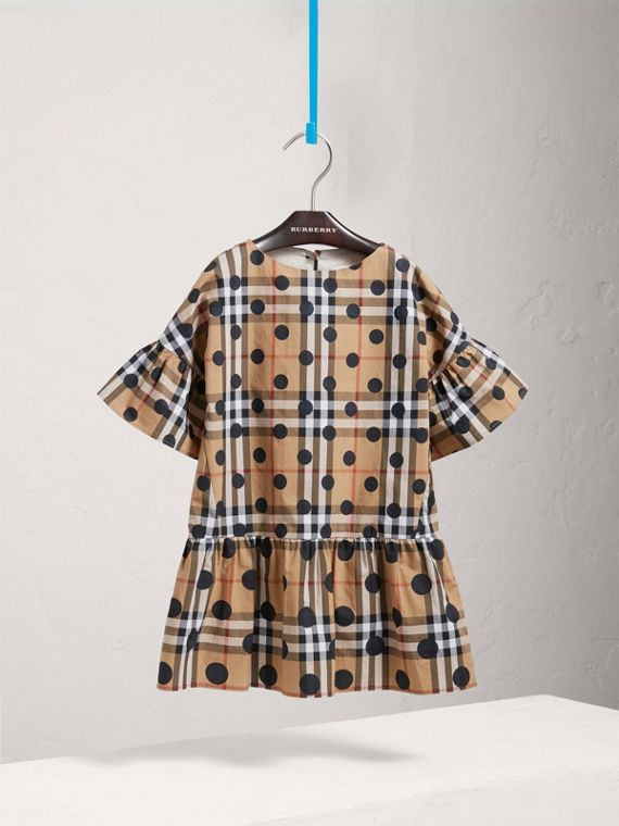 Gathered Polka-dot Check Cotton Dress in Navy