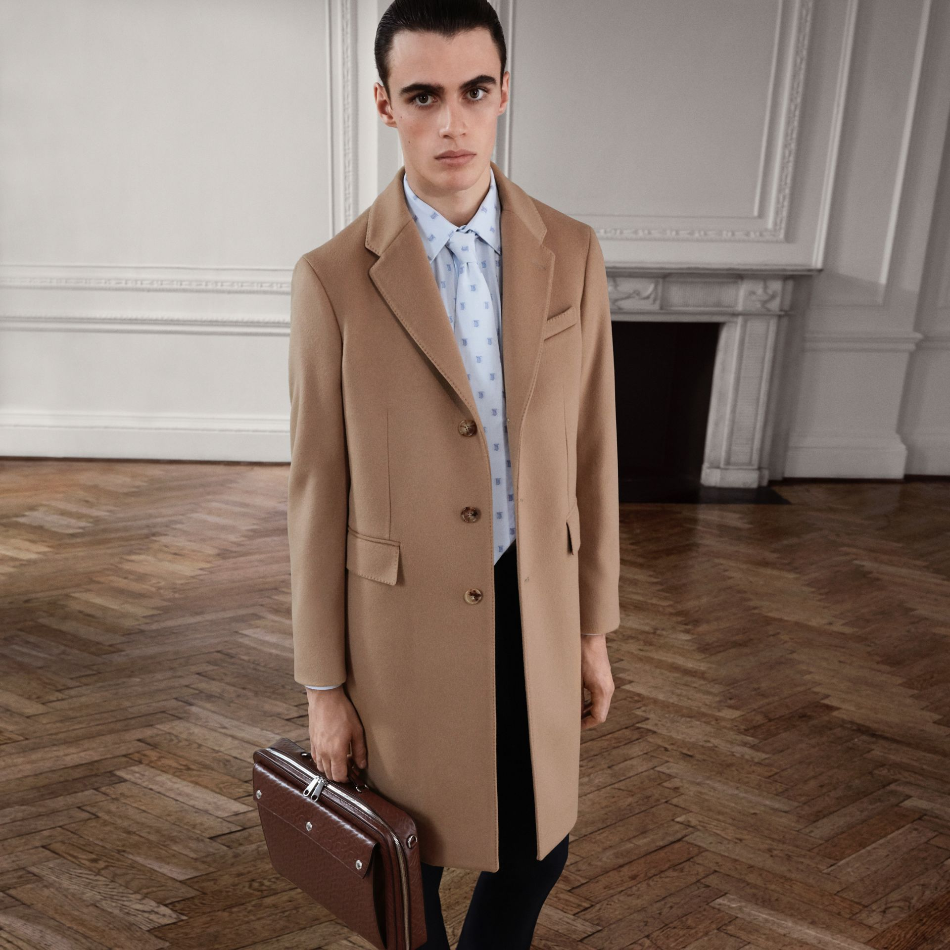 Wool Cashmere Tailored Coat in Camel - Men | Burberry Australia - gallery image 1
