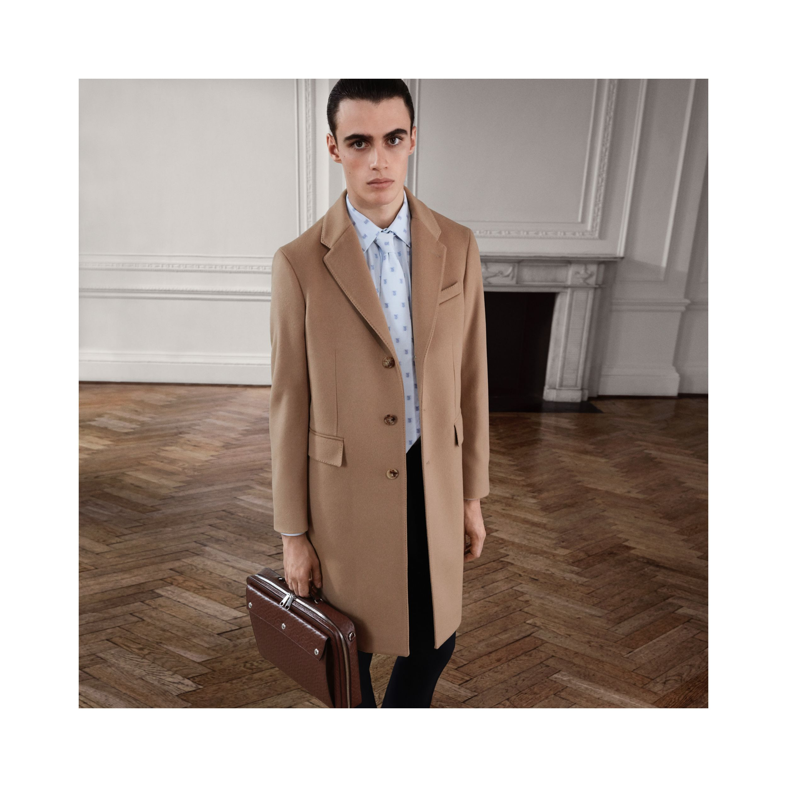 Wool Cashmere Tailored Coat in Camel - Men | Burberry - 2