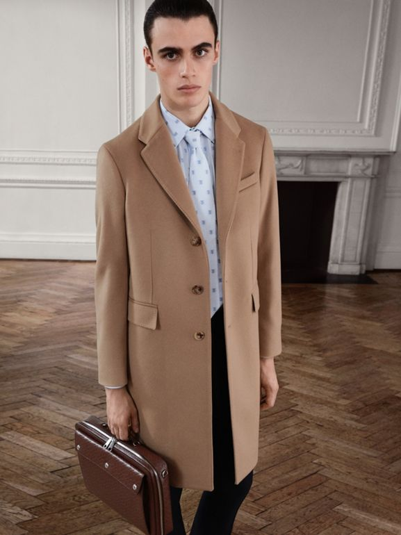 Wool Cashmere Tailored Coat in Camel - Men | Burberry United Kingdom - cell image 1