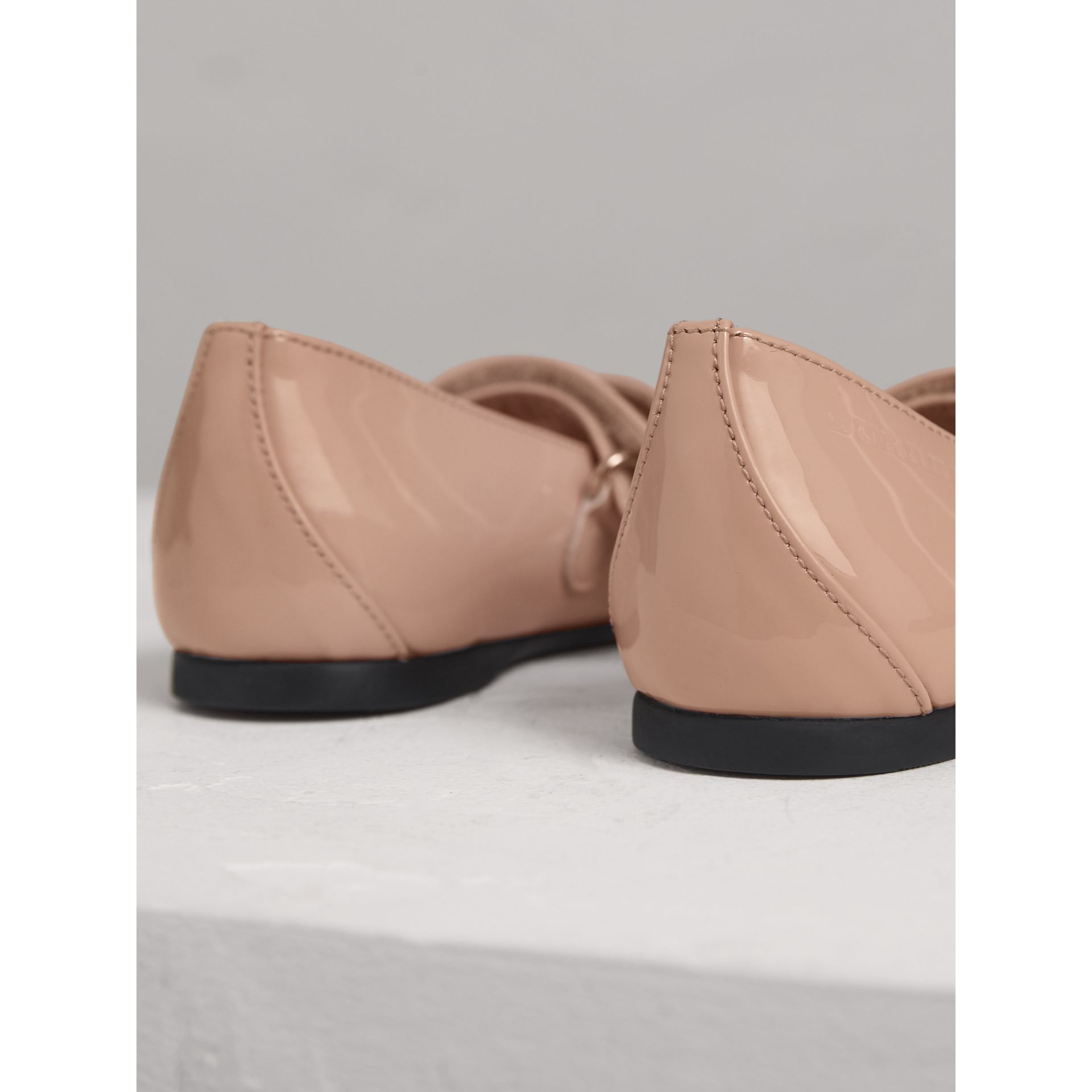Bow Detail Patent Leather Ballerinas in Apricot Pink | Burberry Australia - gallery image 2