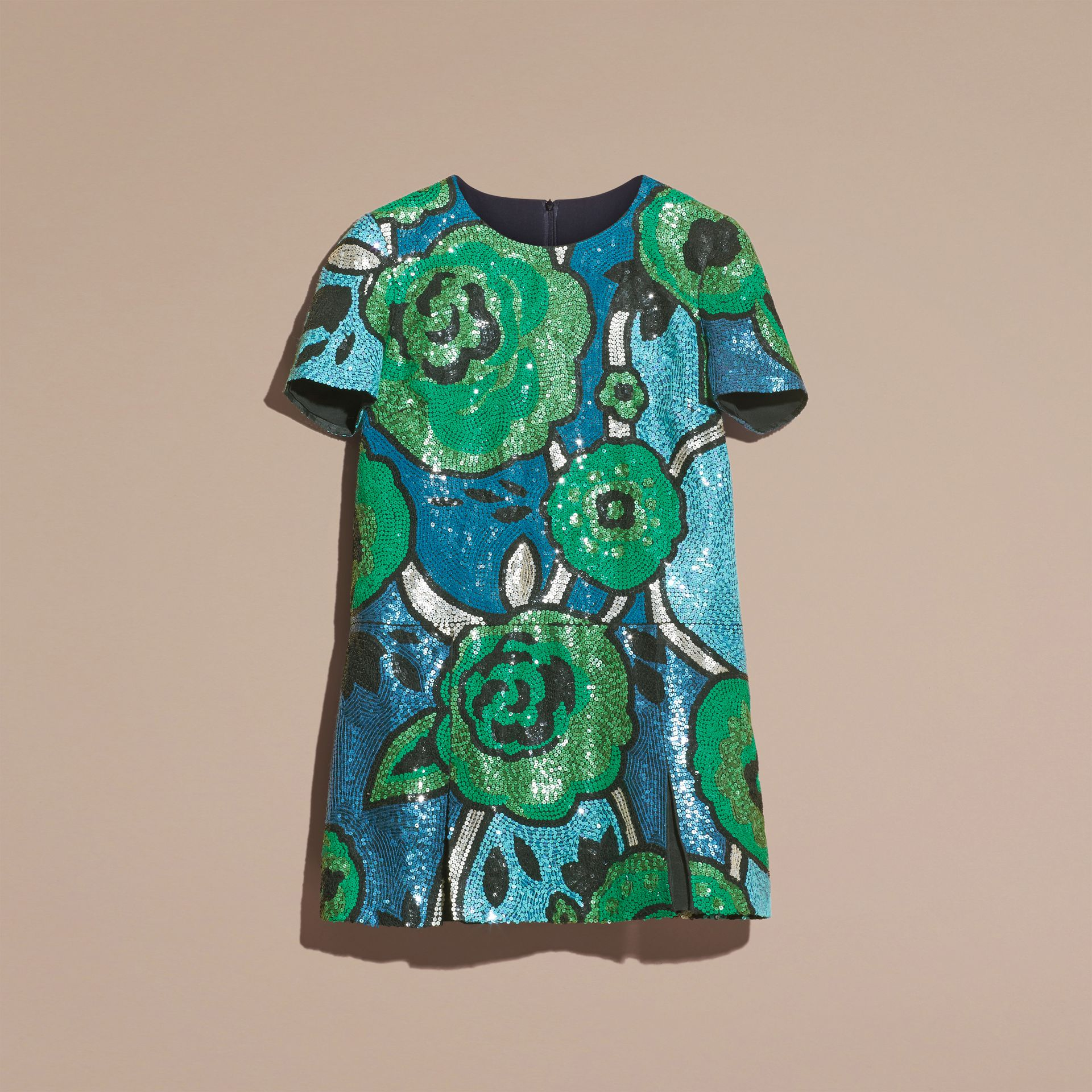 Bright green Hand-embroidered Sequin T-shirt Dress Bright Green - gallery image 4