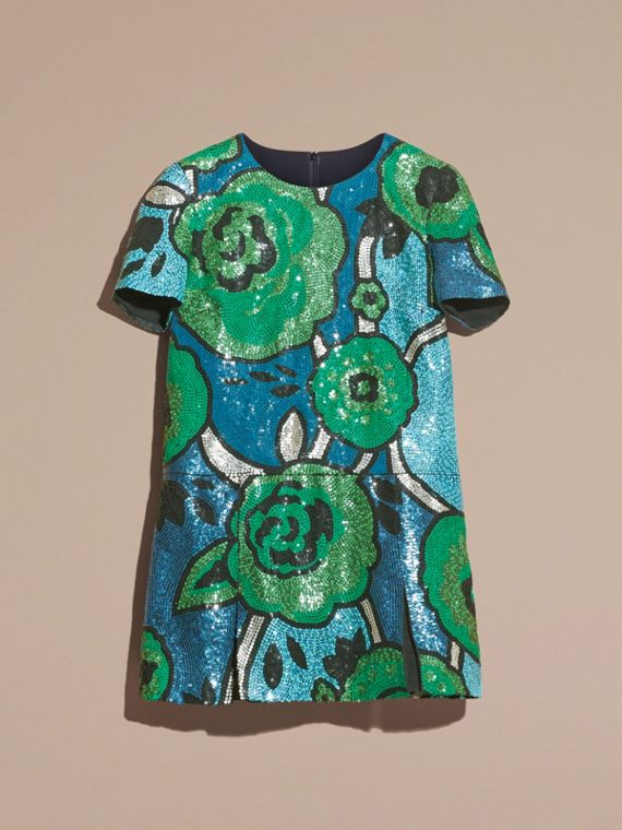 Bright green Hand-embroidered Sequin T-shirt Dress Bright Green - cell image 3