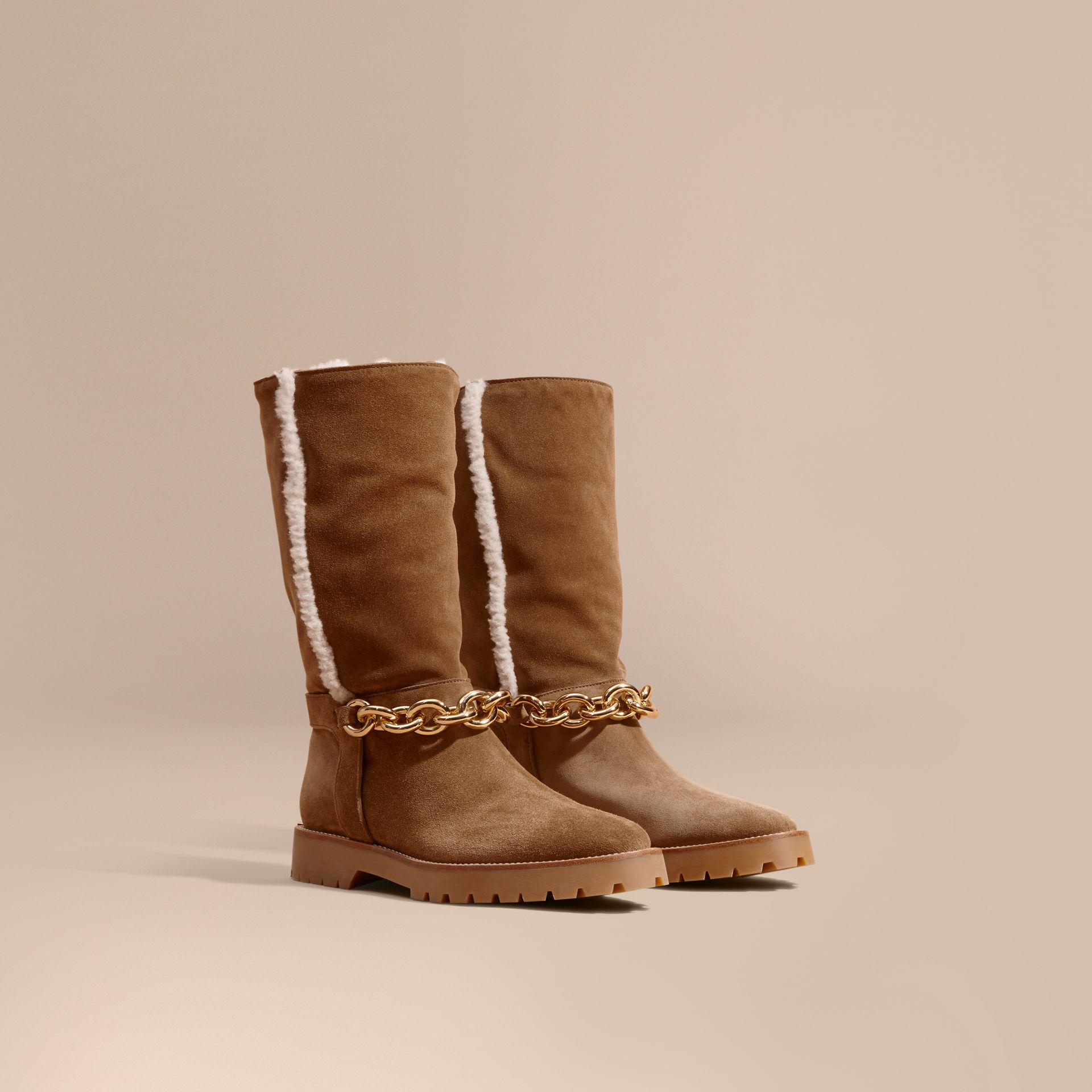 Light oak brown Chain Detail Shearling and Suede Boots - gallery image 1