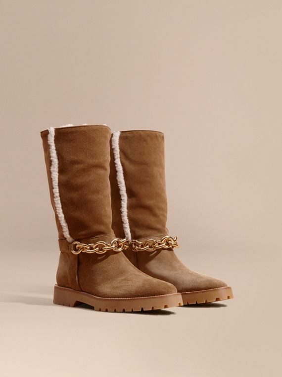 Chain Detail Shearling and Suede Boots - Women | Burberry