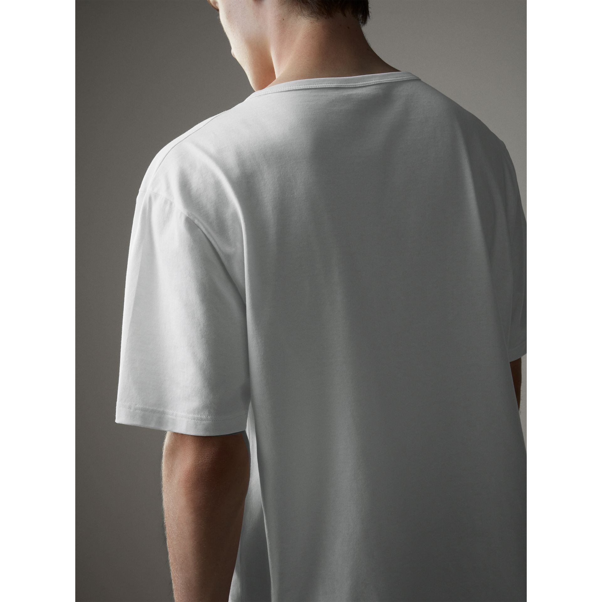 Boxy Fit T-shirt with Crystal Brooch in Optic White - Men | Burberry - gallery image 3