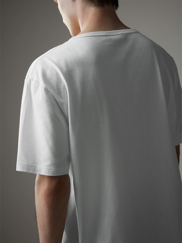 Boxy Fit T-shirt with Crystal Brooch in Optic White - Men | Burberry - cell image 2