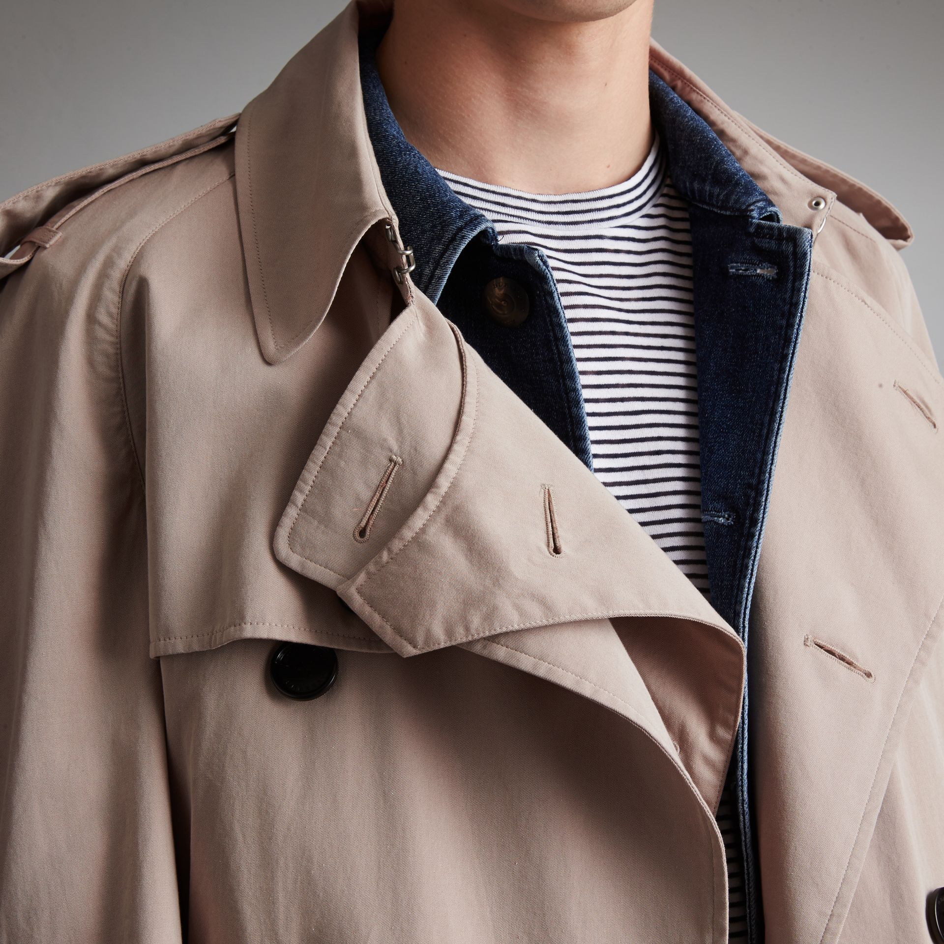 Unisex Tropical Gabardine Trench Jacket in Light Taupe - Men | Burberry - gallery image 5